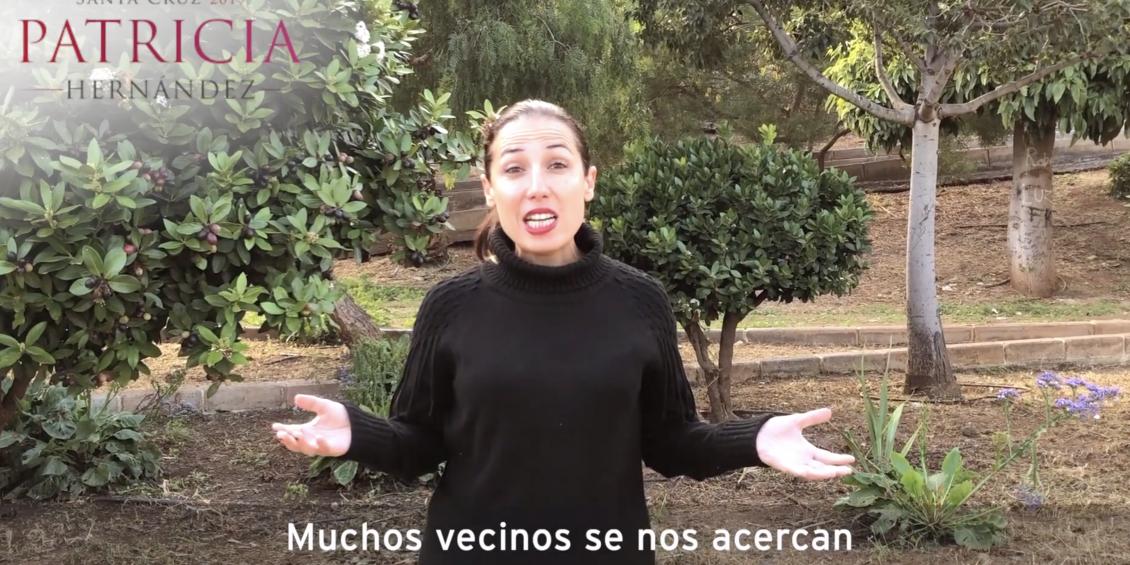Patricia Hernández en el parque de Añaza